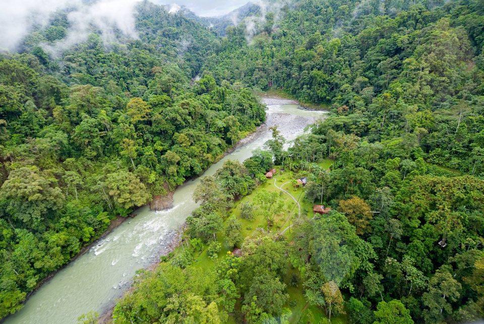 Costa Rica, Pacuare Lodge, Luftansicht Fluss Dschungel, Latin America Tours, Reisen