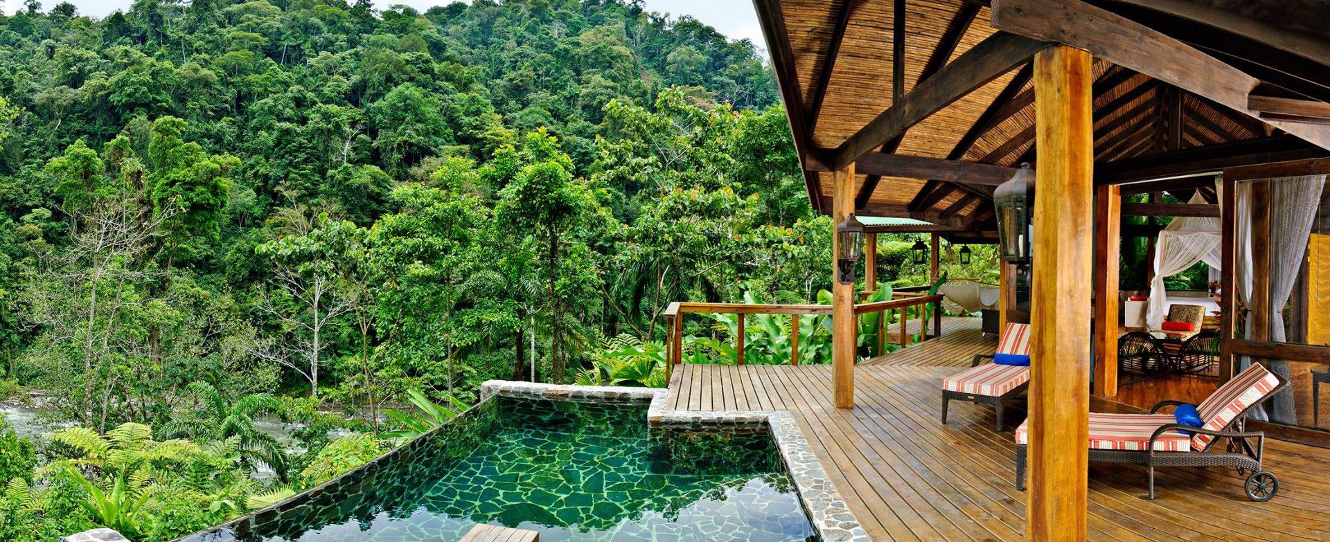 Costa Rica, Pacuare Lodge, Aussicht von der Terrasse in den Dschungel, Jungle Lodges, Latin America Tours, Reisen