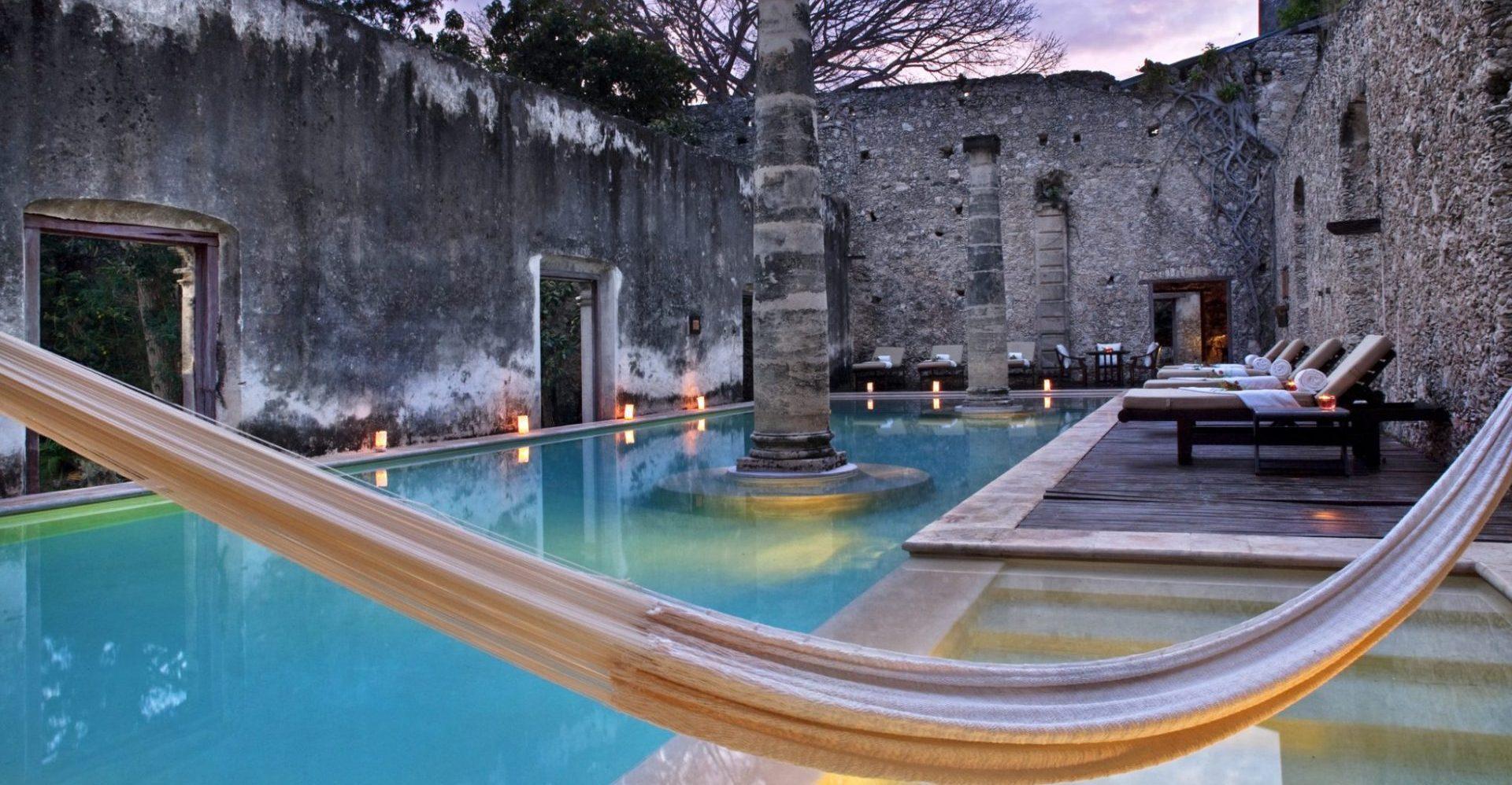 Mexiko, Hacienda Uayamon, Pool, Hängematte, Latin America Tours, Reisen